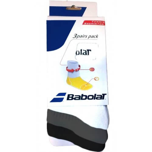 Babolat 3 Pairs Pack White Grey Black