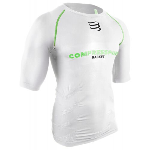 Compressport Racket Tee Shirt White Green