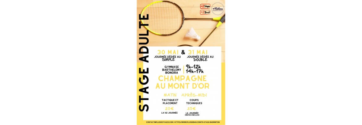Stage Adulte Champagne au Mont d'Or 30/31 Mai 2020