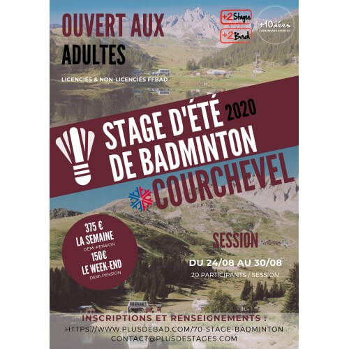 Stage Adulte Courchevel 24 au 30 août 2020