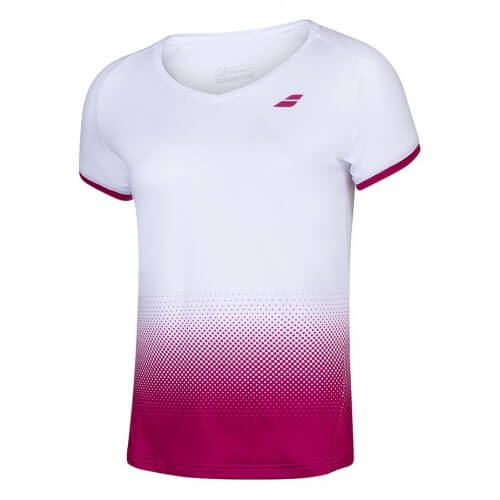 Babolat Compete Cap Sleeve Top Women White Vivacious Red