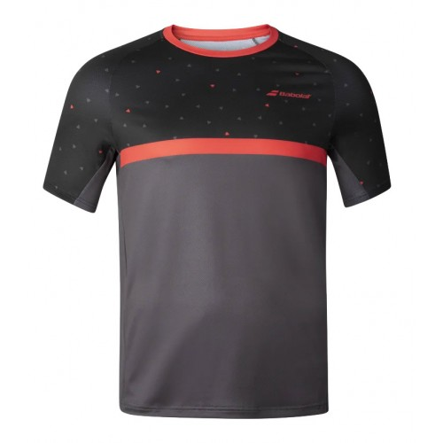 Babolat Crew Neck Compete Men Black Poppy Red